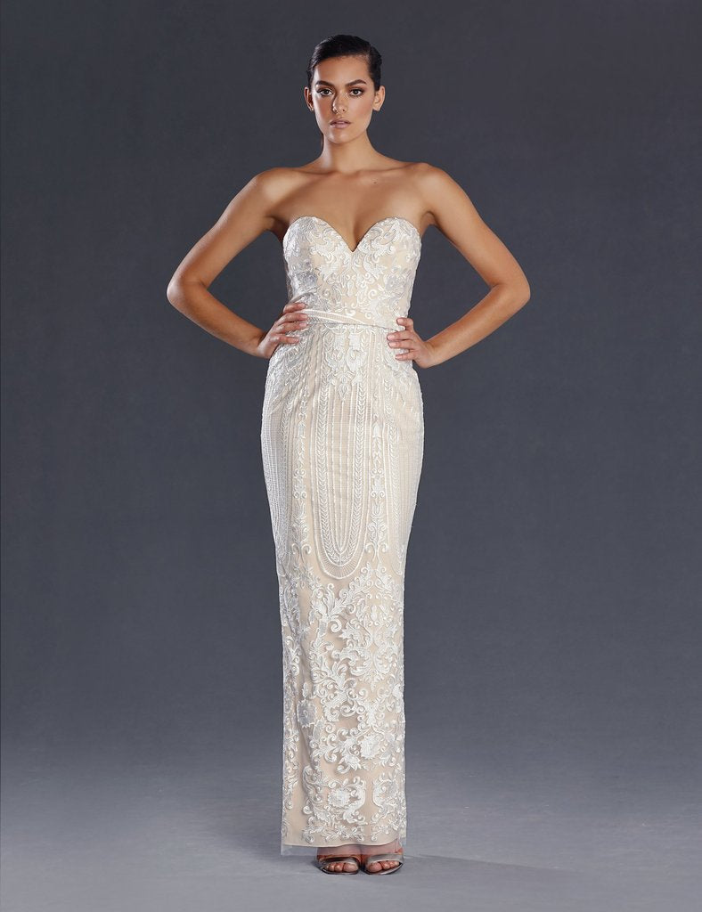 70721 designer gown size 16. Modern strapless, ivory on nude, sheath style lace gown