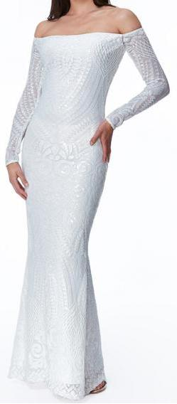 Style 70730 size 8 and size  12  designer  modern wedding dress with long sleeves. Good quality. Cheap on clearance.