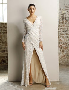 Style 70850  modern lace bohemian v neck with long sleeves