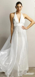 Style 70852 size 6 and size 14  modern  halter organza wedding dress. Good quality. Cheap on clearance.