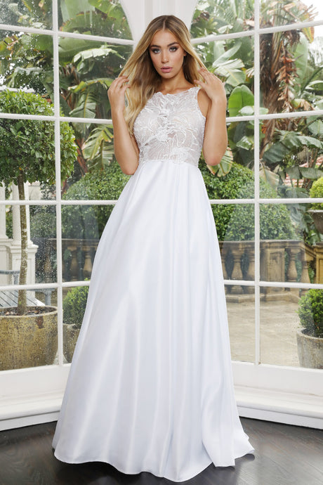 70877 White satin princess skirt with lace top
