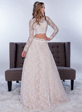 70930.  Stunning Adagio Bridal size 4-6 bohemian lace top and skirt with sleeves and open back