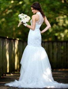 70932.  Stunning Adagio Bridal size 22 mermaid with halter top