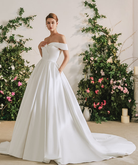 71112 Satin, off shoulder A line princess wedding gown