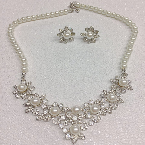 #7090 Vintage inspired crystal embellished bridal necklace set by Athena