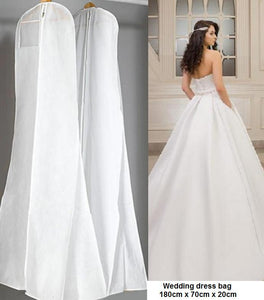 #8001 WHITE, NON WOVEN, DUST PROOF WEDDING DRESS BAG 180 x 70 x 20cm