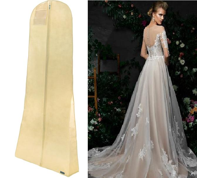#8002 The ultimate in Bridal Gown Bags. Made in the UK. IVORY PEVA, SHOWERPROOF, PROTECTIVE and BREATHABLE
