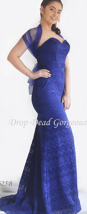 9625 Royal blue strapless, lace, full length gown was $299 now $99 on clearance, Size 6 and size 10