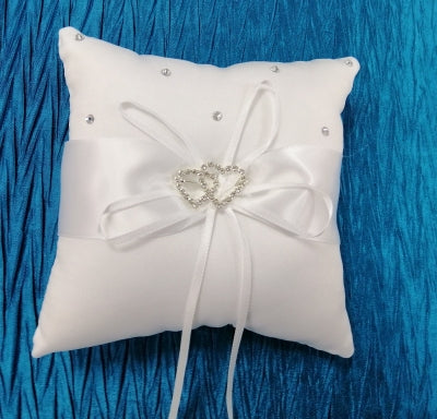 BBRP1  White Satin with diamante hearts Wedding Ring Pillow/ carrier