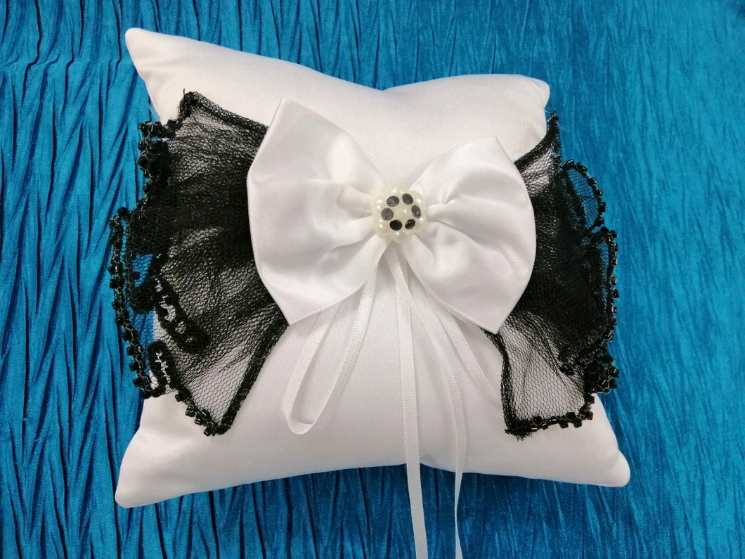 BBRP4  White Satin with black tulle trim Wedding Ring Pillow/ carrier