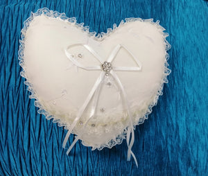BBRP5  Soft ivory cotton with lace edge. Heart shaped, wedding ring pillow/ carrier