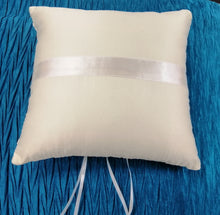 BBRP6  Large, square, ivory wedding ring pillow/ carrier with embroidery detail and diamante buckle