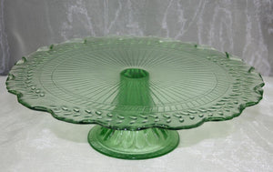 BBVGG1 Vintage green glass cake stand $8.70