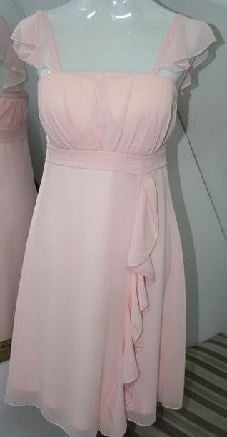 BM005 2 strap, pink, knee length , good quality, cheap bridesmaid dress. size 14. $49 on clearance
