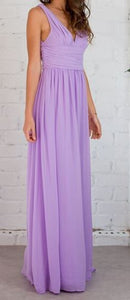 BM006 V neck, lilac / lavender full length chiffon, good quality, cheap bridesmaid dress. $49 on clearance size 12