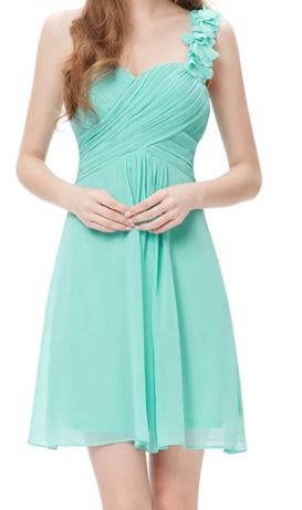 BM055 One shoulder,  aqua, knee length , good quality, cheap bridesmaid dress. size 12 $49 on clearance