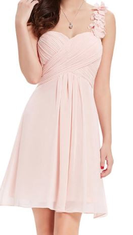 BM055 One shoulder,  light pink, knee length , good quality, cheap bridesmaid dress. size 12 and size 16. $49 on clearance
