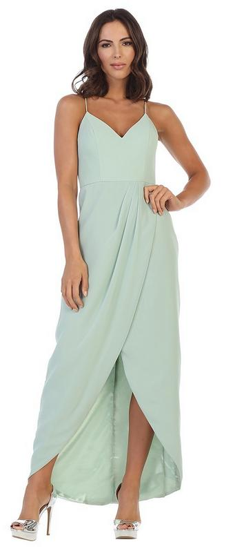 BM1000  Sage green. Chiffon with spaghetti straps .Available to order. $299.00