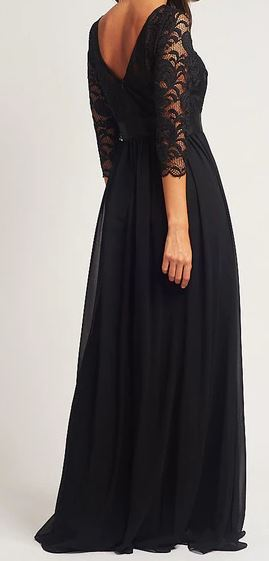 Style BM1003 plus size 24 black Maxi length gown with long lace sleeves.