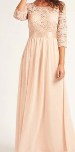 BM1003 Champagne. Chiffon with long lace sleeves. Size 6
