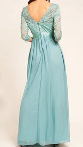 BM1003 Dusty blue. Chiffon with long lace sleeves. Available to order. $149.00