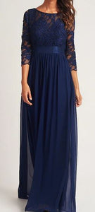 Navy blue style BM1003. Chiffon with long lace sleeves