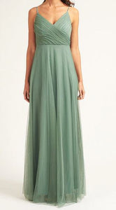 Style BM1004 plus size 18 and size 8  green tulle maxi length gown with spaghetti straps