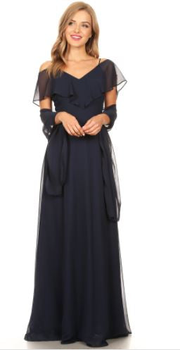 Navy blue style BM1010. Chiffon gown with spaghetti straps and off shoulder ruffle.