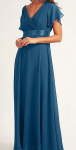 Teal style BM102. Maxi length gown with short sleeves.