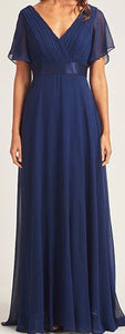 BM102 plus size 18 and size 20 Navy Maxi length gown with short sleeves. Evening gown or bridesmaid dress