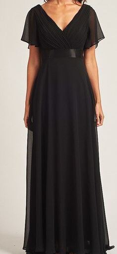 Black style BM102. Maxi length gown with short sleeves.