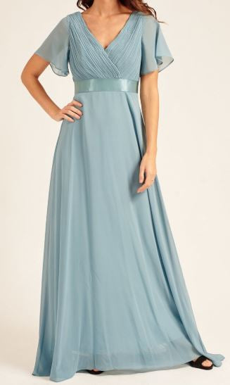 Dusty Blue style BM102. Maxi length gown with short sleeves.