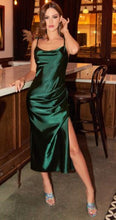 BM1050 Emerald green. Slim fit satin midi dress. Available to order. $149