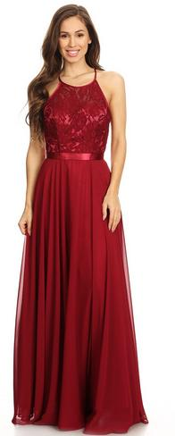 BM930 Burgundy. Chiffon gown with lace halter bodice and open back. Size 18-20