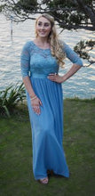 BM1003 Dusty blue. Chiffon with long lace sleeves. Size 10