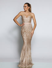 JADORE JX1002 GOLD STRAPLESS SEQUIN MERMAID size 14 and 18
