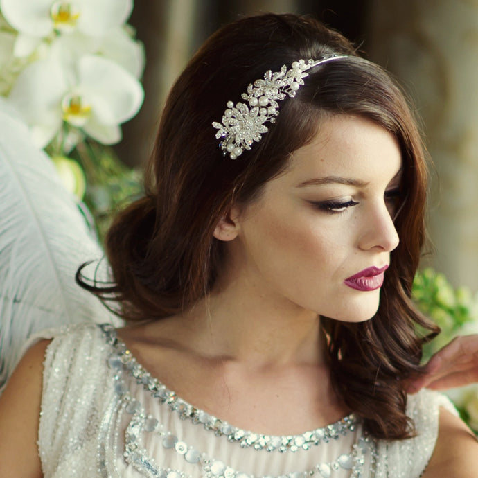 #7070 Romantic Scarlett Bridal headband  by SASSB
