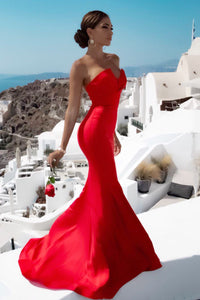 TINA HOLLY COUTURE BA651 RED STRAPLESS MERMAID evening / ball gown