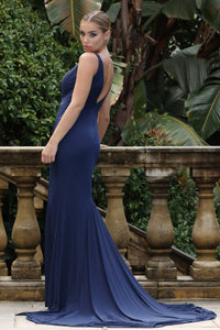 TINA HOLLY COUTURE DESIGNER BA808 NAVY blue DRAPE FRONT MERMAID FORMAL DRESS evening / ball gown