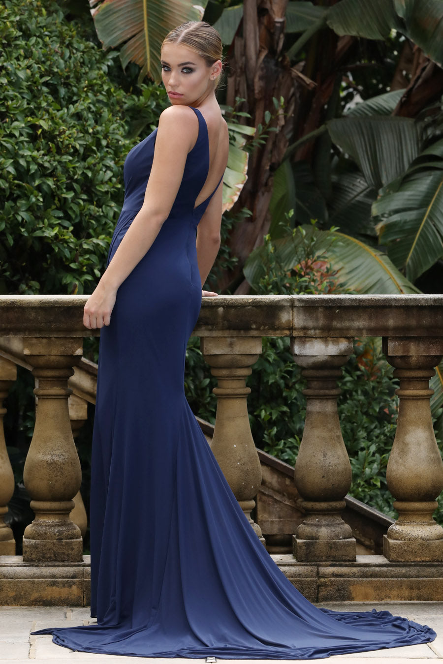 TINA HOLLY COUTURE DESIGNER BA808 NAVY DRAPE FRONT MERMAID FORMAL DRESS
