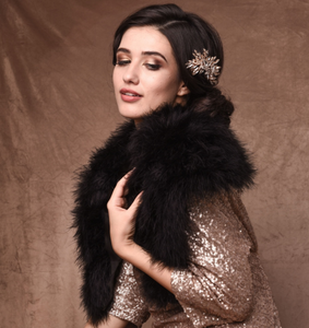 Black 100% Marabou Feather Shrug. Vintage stole. Bridal accessories. Hollywood Glamour. 1/2 price hire available.