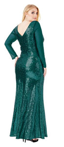Style 10210G plus size 22. Emerald green. Maxi length, long sleeves, plunging v neckline evening / ball gown