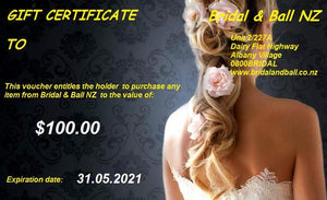 Bridal and Ball NZ gift Voucher for $100