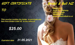 Bridal and Ball NZ gift Voucher for $25