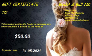 Bridal and Ball NZ gift Voucher for $50