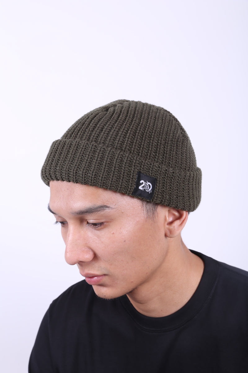NEWBN GREEN BEANIE - Badger Invaders