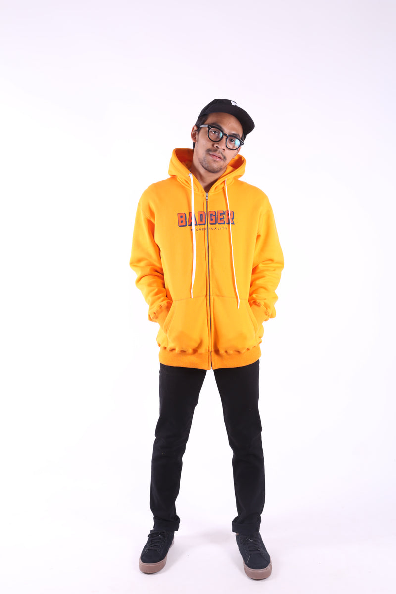 MUSTARD YELLOW ZIPPER HOODIE - Badger Invaders