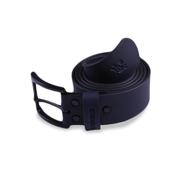 V2 NAVY LEATHER BELT - Badger Invaders
