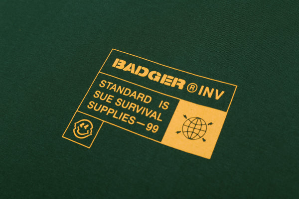 SURVIVAL SUPPLIES GREEN BASIC TSHIRT - Badger Invaders