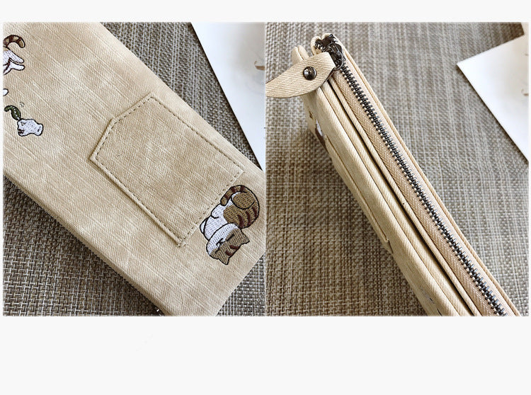 Handmade Canvas Cat Wallet, iphone Case
